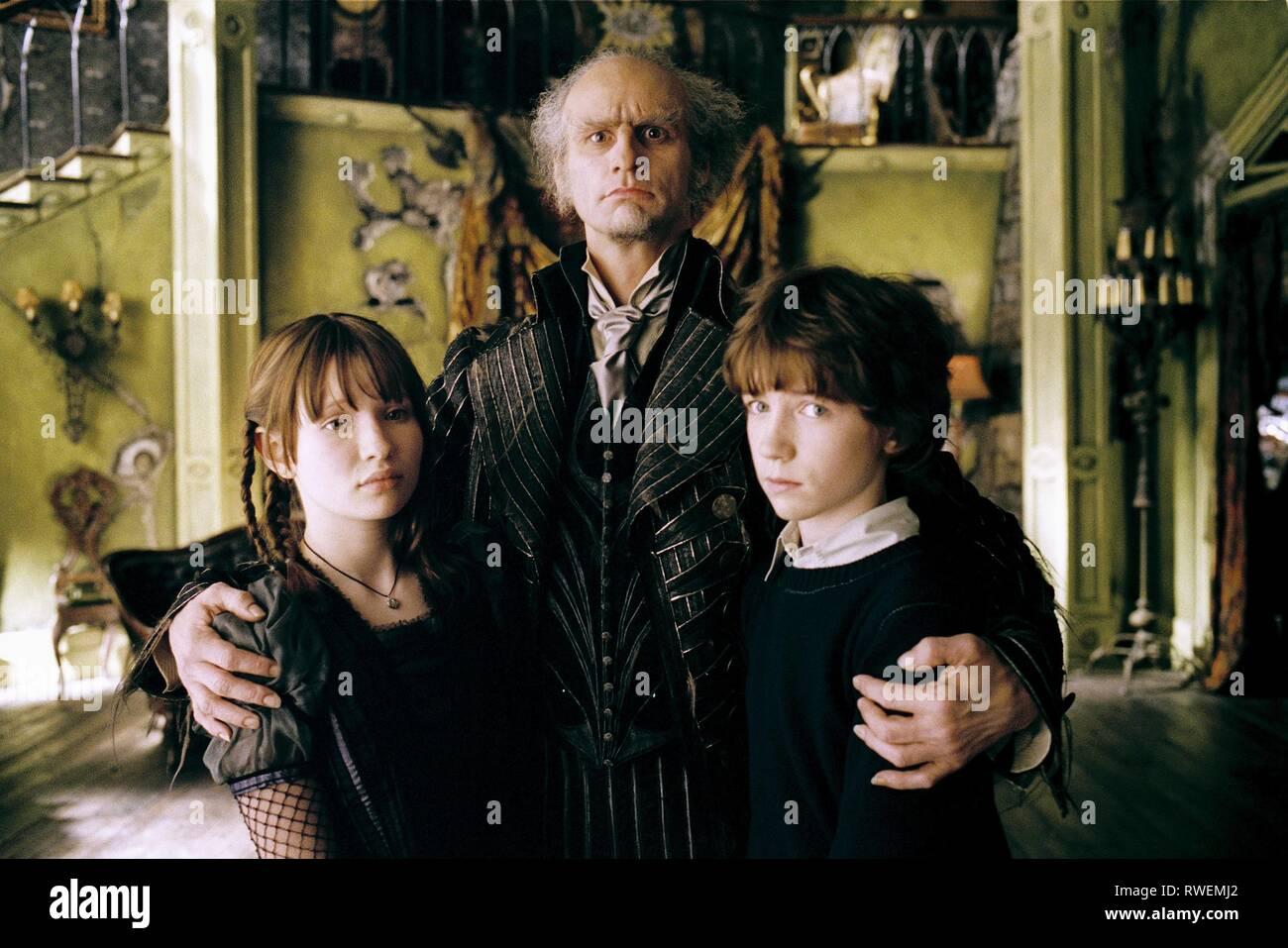 BROWNING, CARREY, Aiken, LEMONY SNICKET IST EINE REIHE VON unglücklichen Ereignissen, 2004 Stockbild