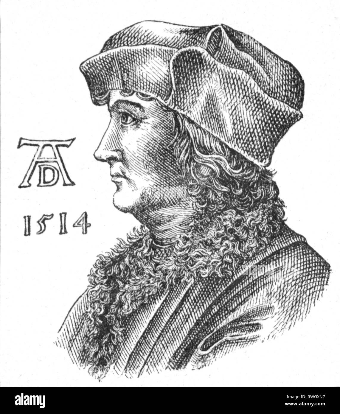 Dürer, Albrecht der Ältere, ca. 1427 - 1502, deutscher Goldschmied, Porträt, nach dem Kupferstich von Albrecht Dürer der Jüngere, 1514, Artist's Urheberrecht nicht geklärt zu werden. Stockbild