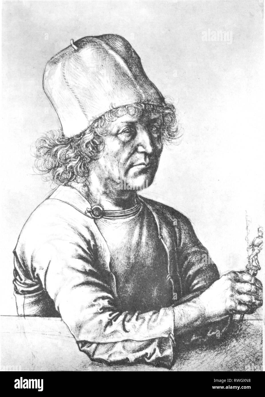 Dürer, Albrecht der Ältere, ca. 1427 - 1502, deutscher Goldschmied, halbe Länge, Zeichnung von Albrecht Dürer der Jüngere, 1490, Artist's Urheberrecht nicht geklärt zu werden. Stockbild