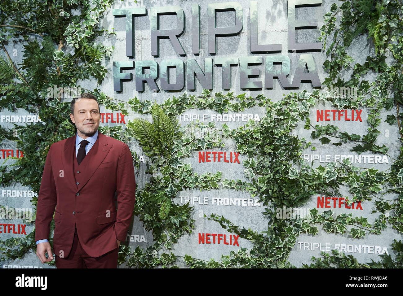 """Madrid, Madrid, Spanien. 6 Mär, 2019. Ben Affleck besucht """"Triple Frontier' Premiere bei Callao Kino am 6. März 2019 in Madrid, Spanien Credit: Jack Abuin/ZUMA Draht/Alamy leben Nachrichten Stockfoto"""