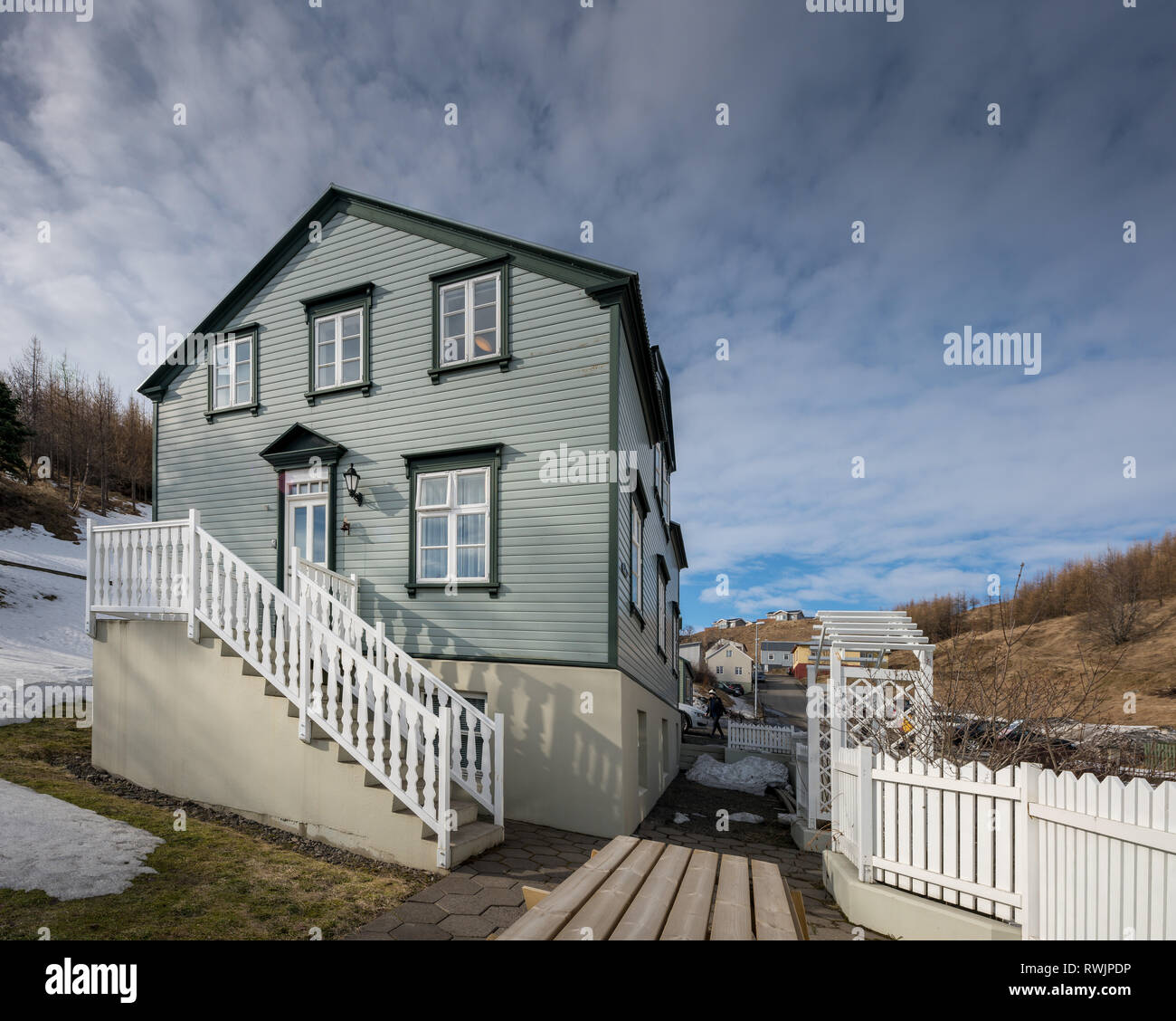 Pension, Akureyri, Island Stockbild