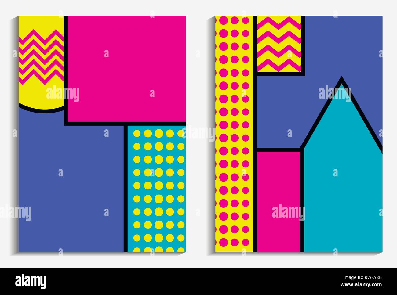 Memphis Poster Set. Geometrische Elemente im Stil der 80er Jahre. Vector Illustration Stockbild