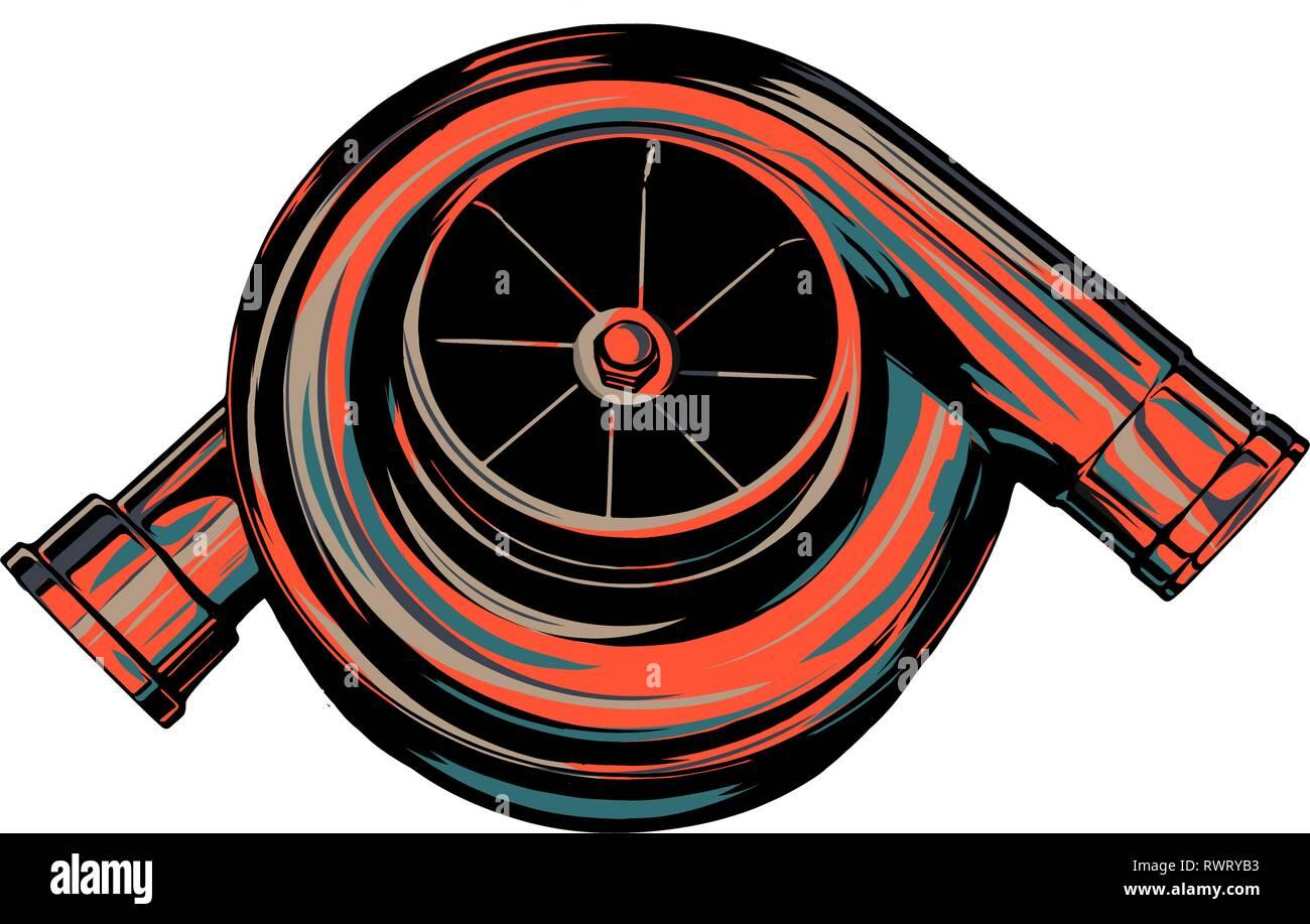 Abbildung eines glühenden Turbine eines Autos Stockbild