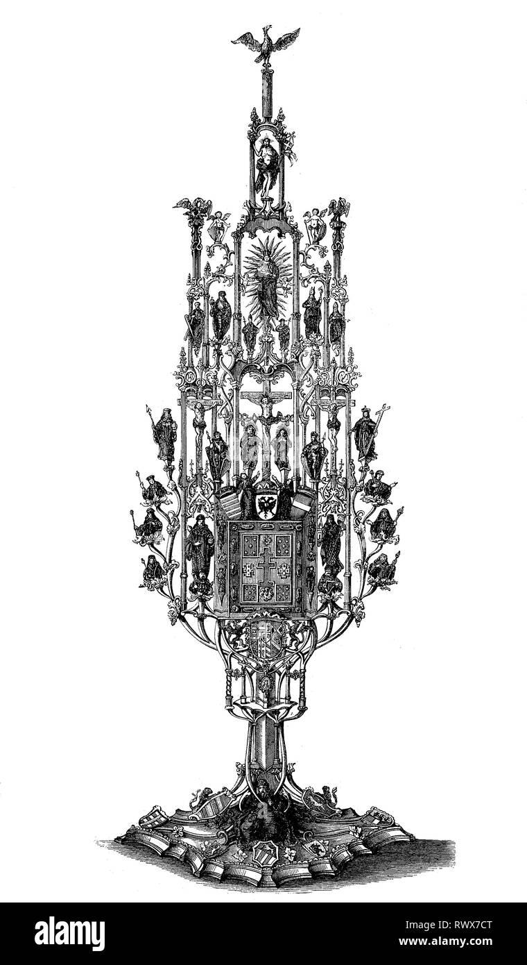 Ostensorium, Reliquie, Reliquiar aus Silber aus dem 15. Jahrhundert/ostensorium, Reliquiar, silbernes Reliquiar aus dem 15. Jahrhundert Stockbild