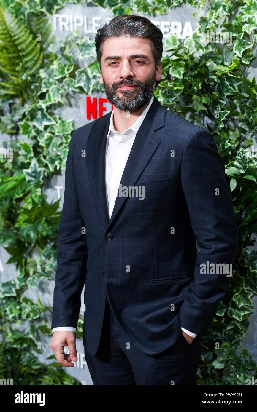 Oscar Isaac bei der Premiere des Netflix Movie 'Triple Frontera/Triple Frontier' bei Cine Callao. Madrid, 06.03.2019 | Verwendung weltweit Stockbild
