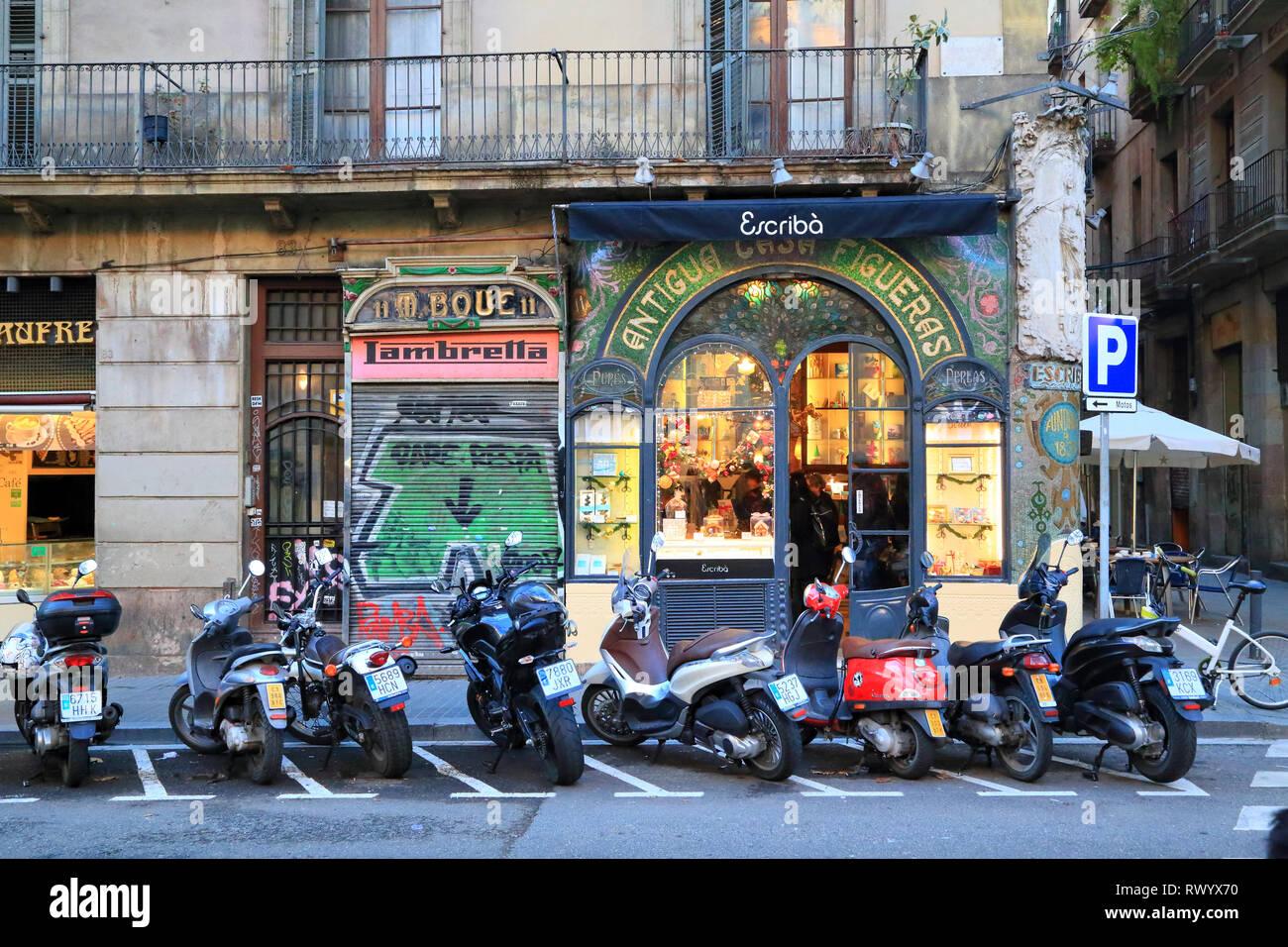 Adresse schokoladenhersteller, La Rambla, Barcelona Stockbild