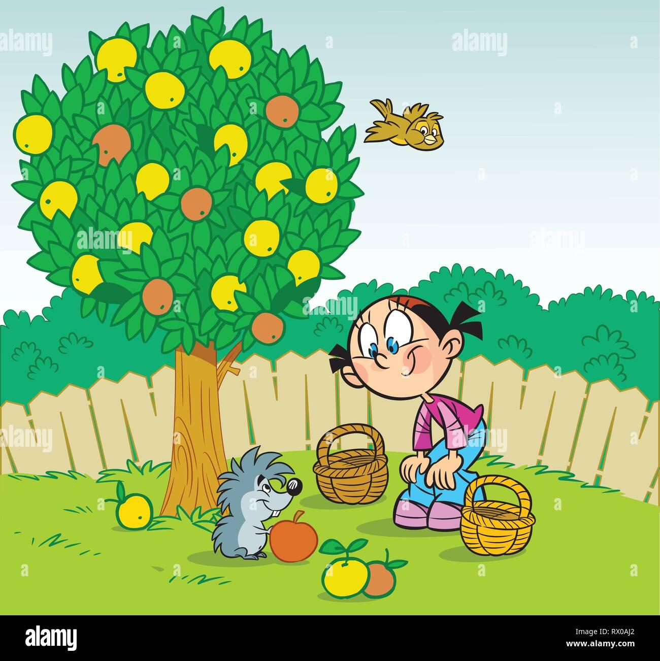 Super Die Abbildung zeigt ein Mädchen, das Im Garten arbeiten. Kleine &MO_04