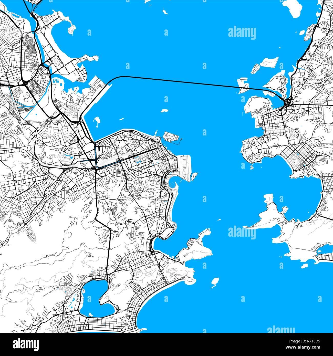 Rio De Janeiro Karte.Rio De Janeiro Karte Vektor Outline Version Mit Hoher