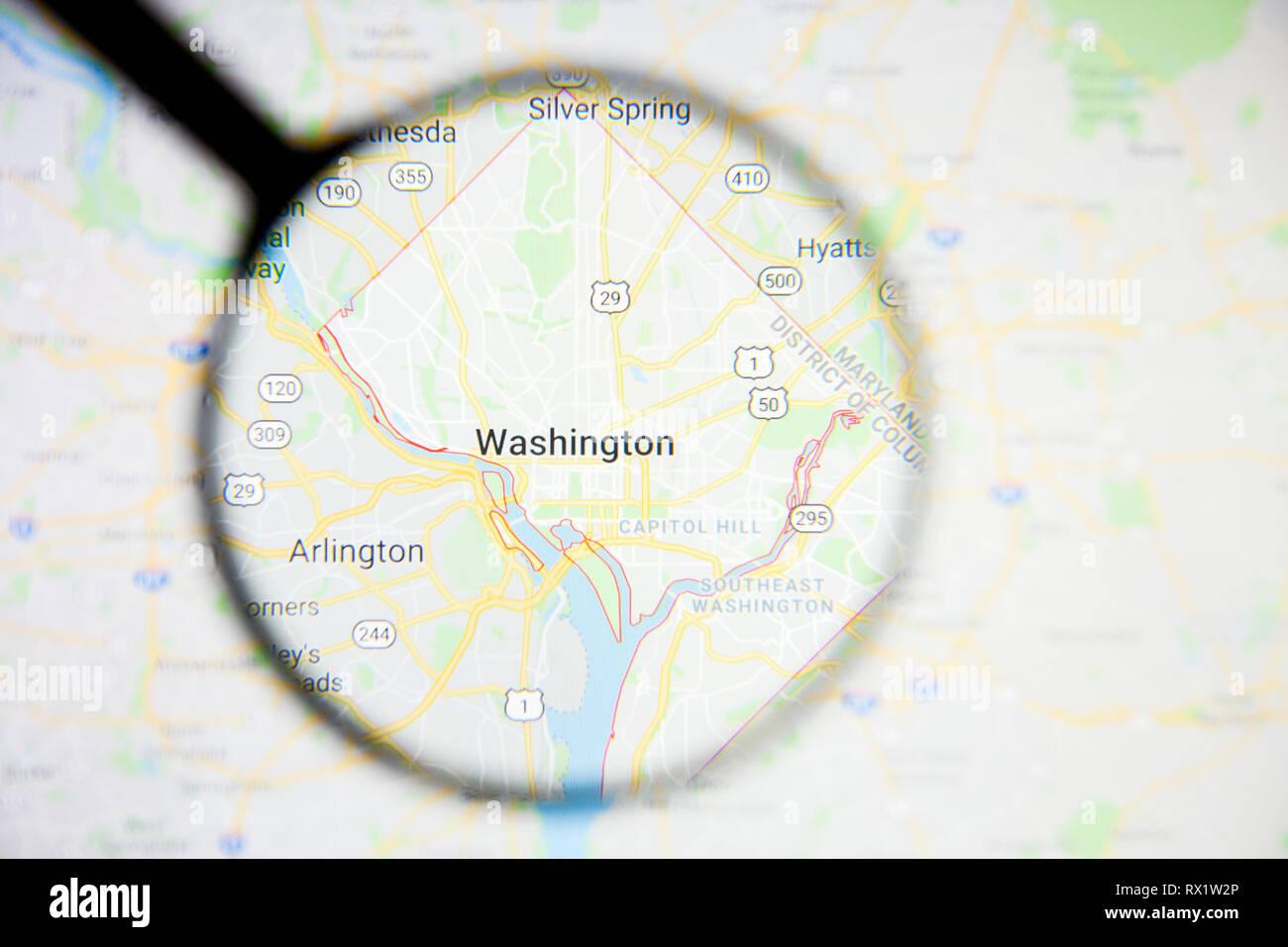 Washington Stadt Visualisierung anschauliches Konzept auf dem Display durch die Lupe Stockbild