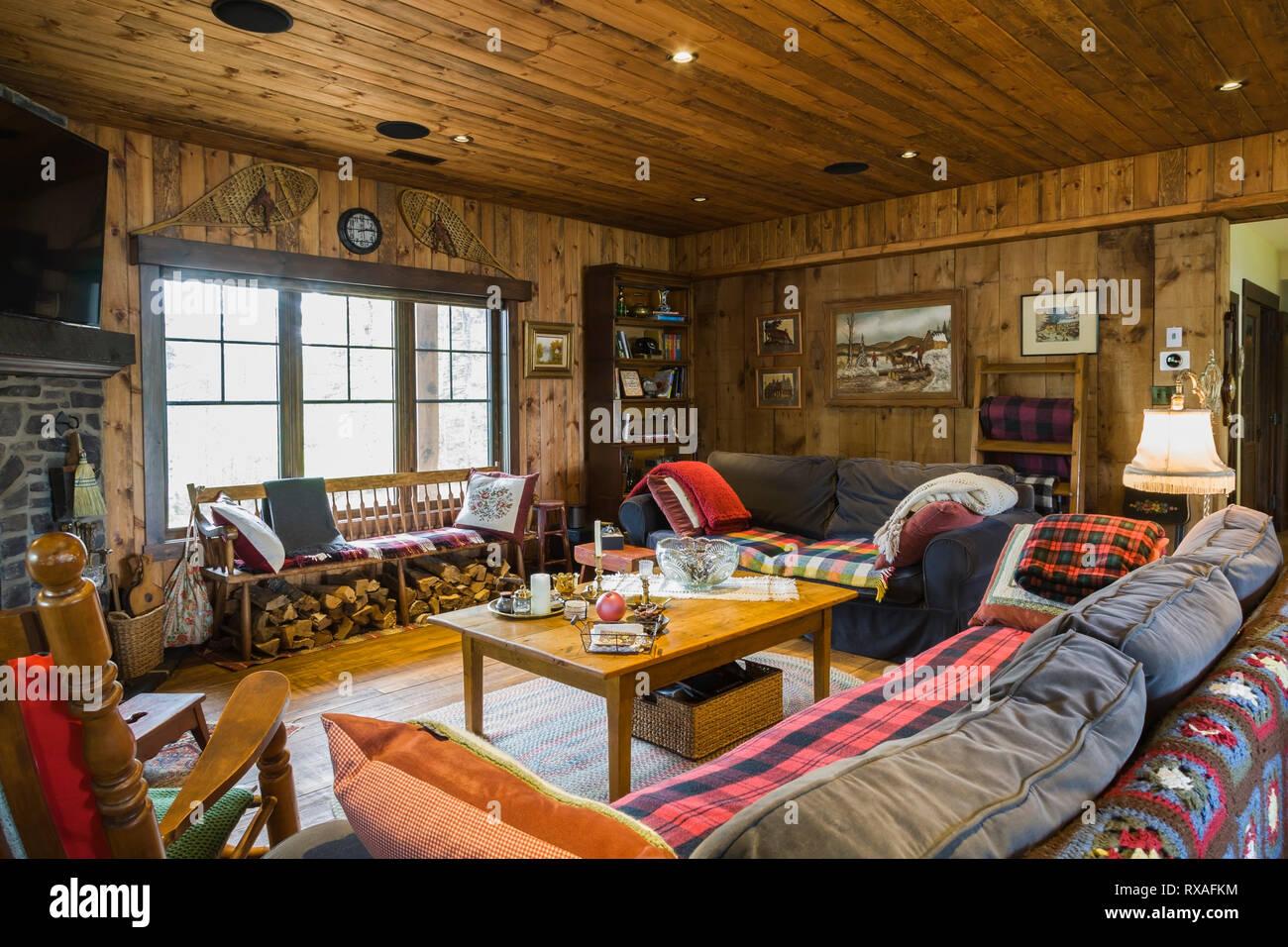 Wohnzimmer Mit Beplankten Holz Decken Und Wände, Grau Und