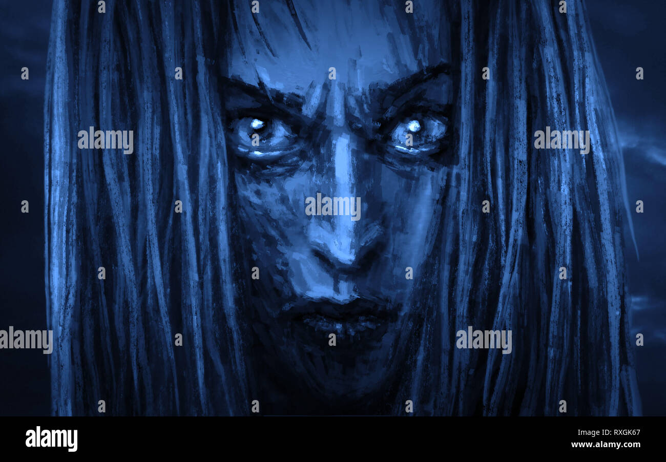 Schönes Gesicht Prinzessin Krieger mit einem wütenden Blick. Abbildung im Horror Genre. Blaue Hintergrund. Stockbild