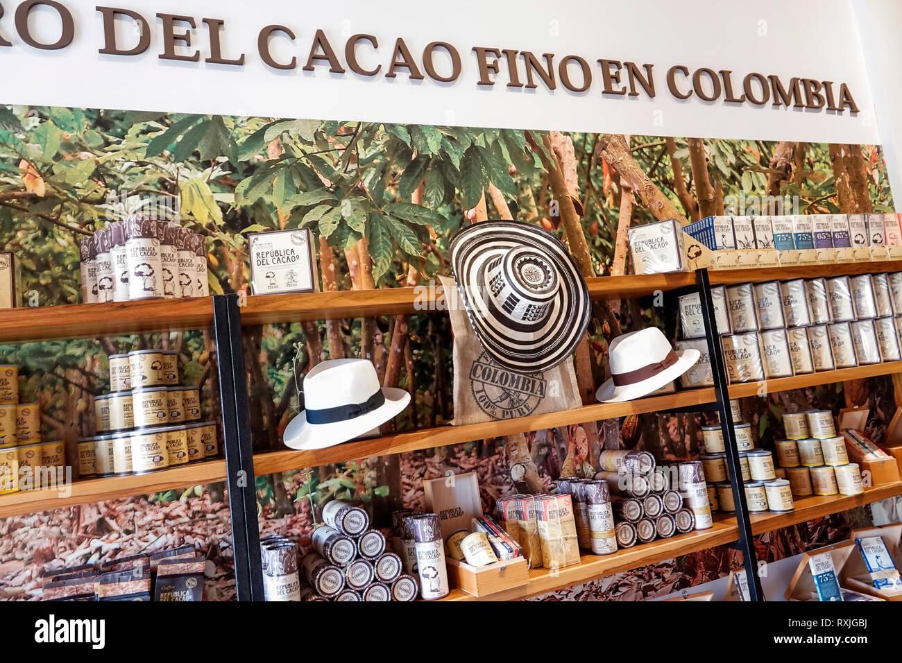 Cartagena Kolumbien alte Walled City Centre Centro Republica del Cacao store Shopping Anzeige Verkauf Inland Produkt nachhaltigen Kakao handwerklichen f Stockfoto