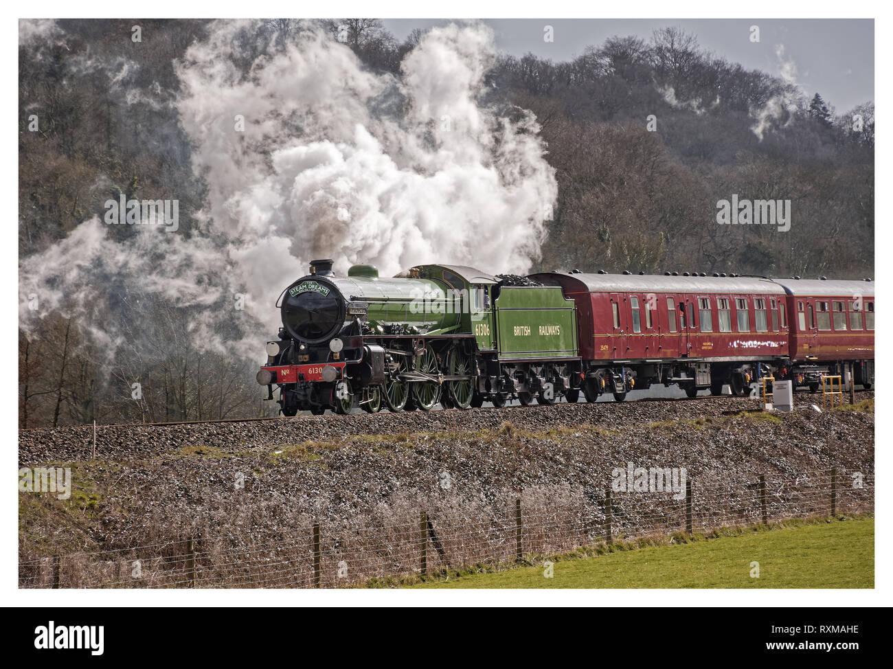 Die makellos 61306 Mayflower Dampf auf der locomative catherdrals express März 2019 Stockbild