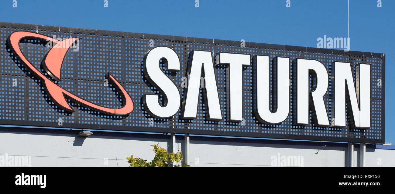 Logo Saturn, Elektronik Handel, Bremen, Deutschland, Europa ich Logo Saturn, Elektronikhandel, Bremen, Deutschland, Europa i Stockbild
