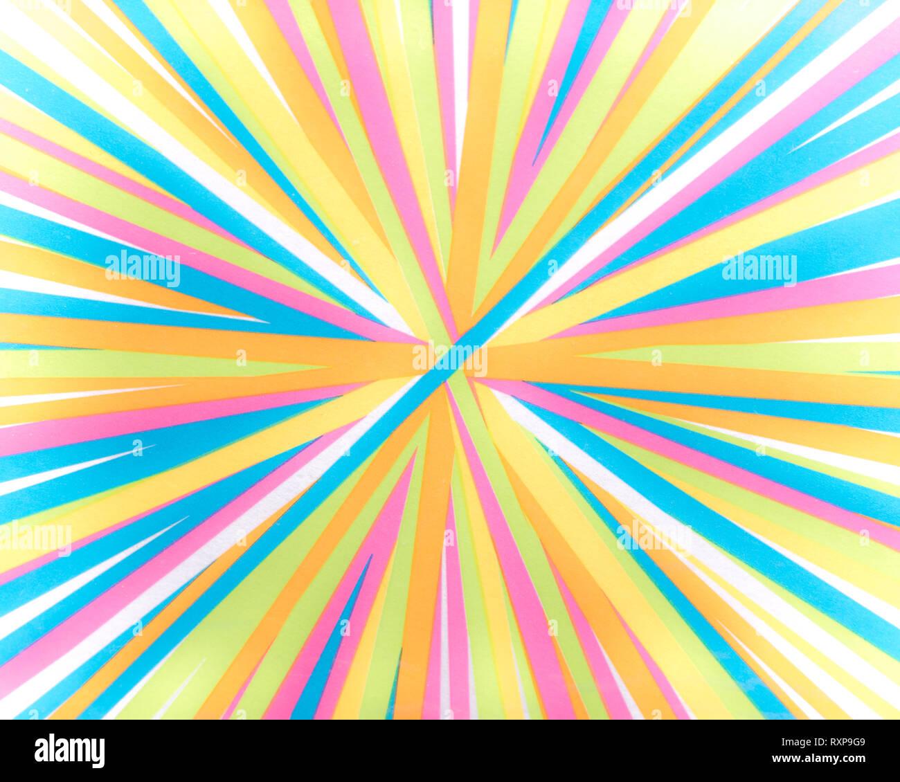 Stürzender Linien - bunte Streifen - Helle Regenbogen Spektrum von Farben radial stürzender Linien Hintergrund Stockbild