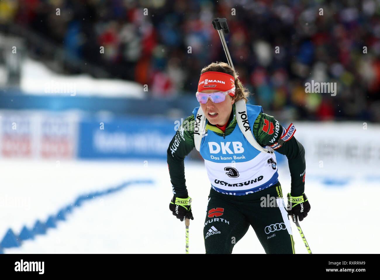 Östersund, Schweden. 10 Mär, 2019. IBU Biathlon Weltmeisterschaften, Tag 4, Verfolgungen; Laura Dahlmeier (GER) in Aktion: Aktion plus Sport/Alamy leben Nachrichten Stockbild