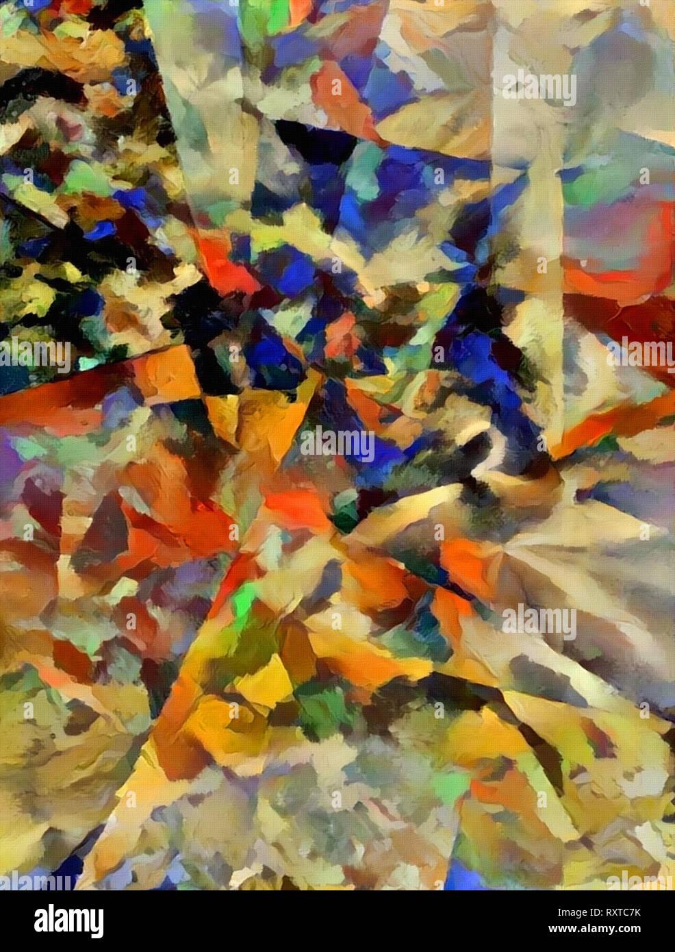 Moderne Kunst Abstrakte Malerei Mit Geometrischen Figuren Stockfotografie Alamy