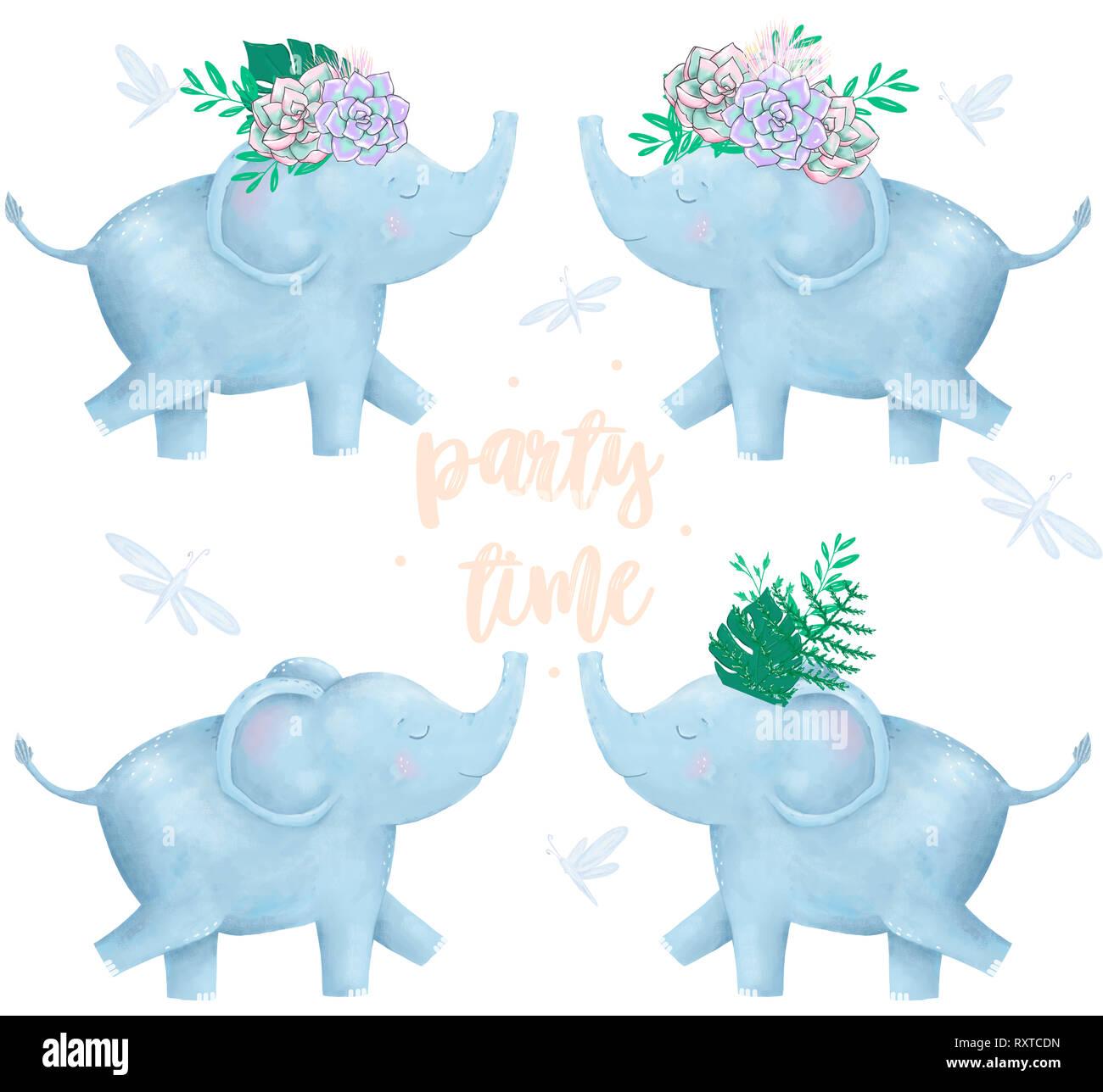 Aquarell Elefant Und Blumen Fur Design Card Clip Art Digitale Tier Happy Birthday Cute Zeichnung Charakter Funny Kid Sommer Stil Auf Wh