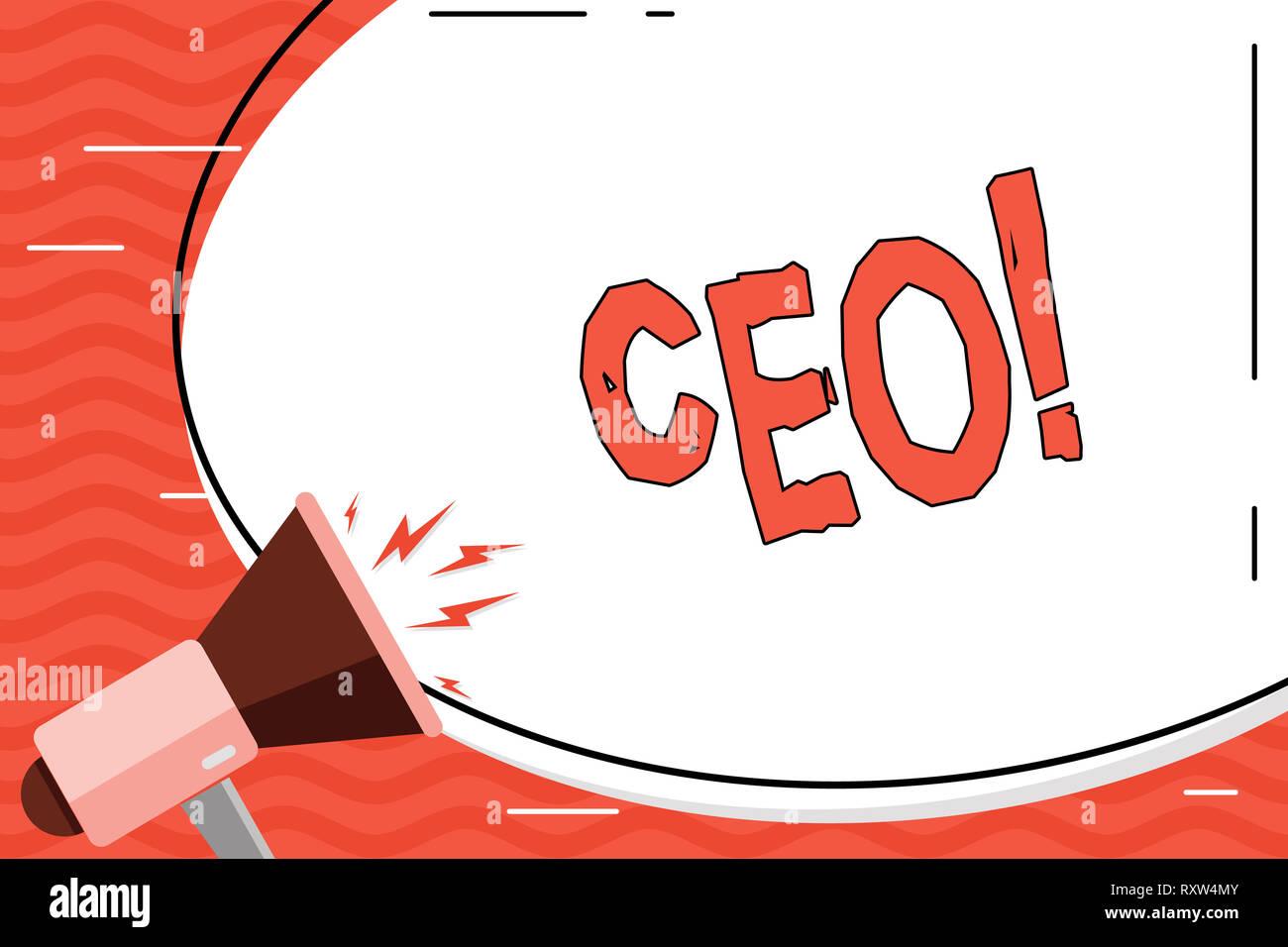 Wort schreiben Text Ceo. Business foto Präsentation Chief Executive Officer Leiter Boss Chairdemonstrating Chairanalysis Controller Stockfoto