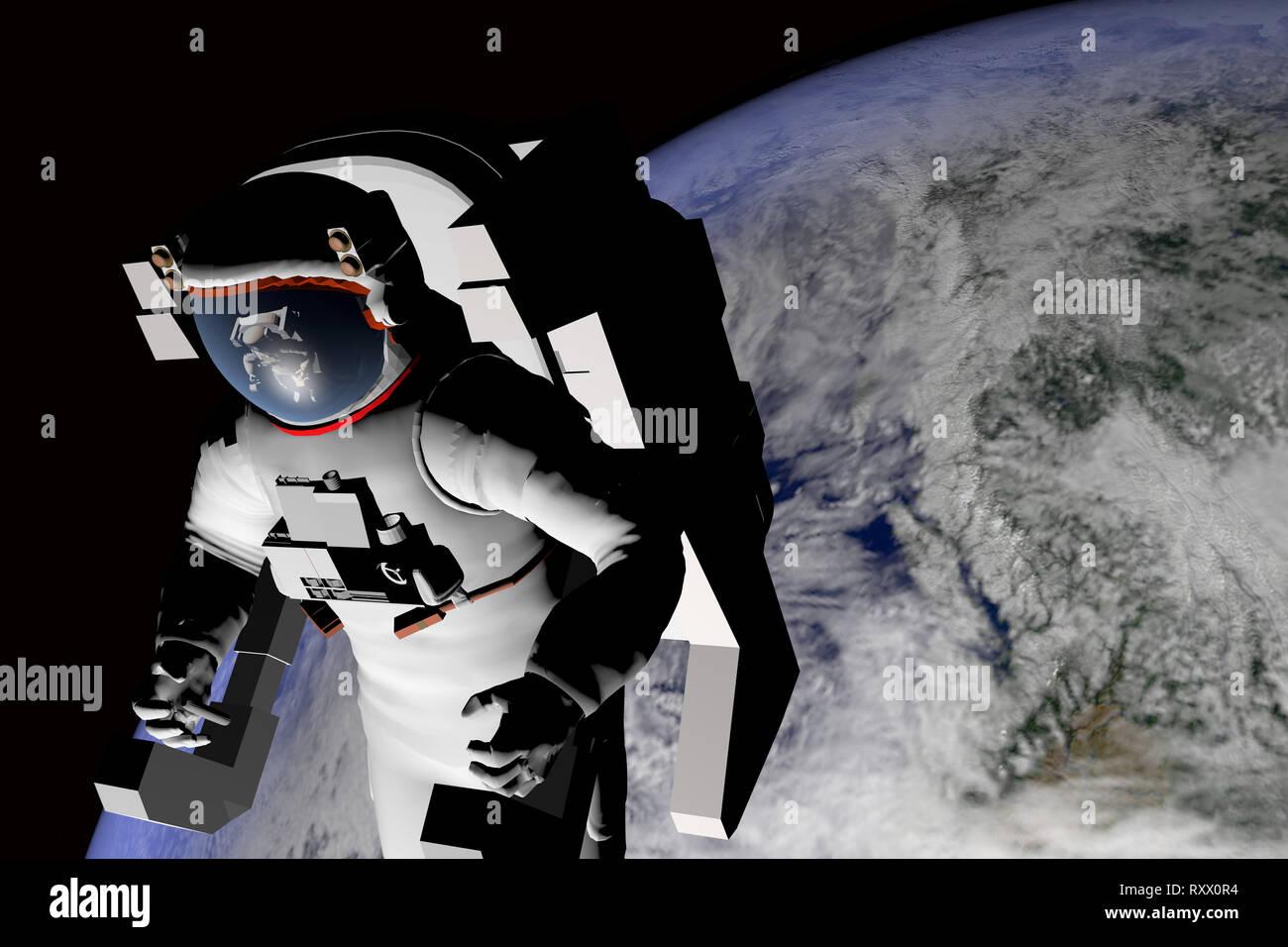 Cgi (Computer Generated image)/Illustration: Astronaut im Weltall, im Hintergrund die Erde (nur fuer redaktionelle Verwendung. Keine Werbung. Referen Stockbild