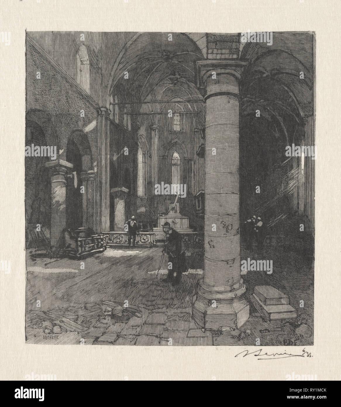 Interieur de l'Eglise. Louis Auguste Lepère (Französisch, 1849-1918). Holzstich Stockbild