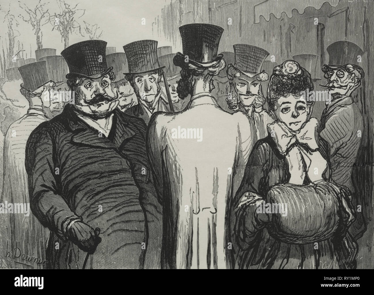 Le Boulevard des Italiens. Honoré Daumier (Französisch, 1808-1879). Holzstich Stockbild