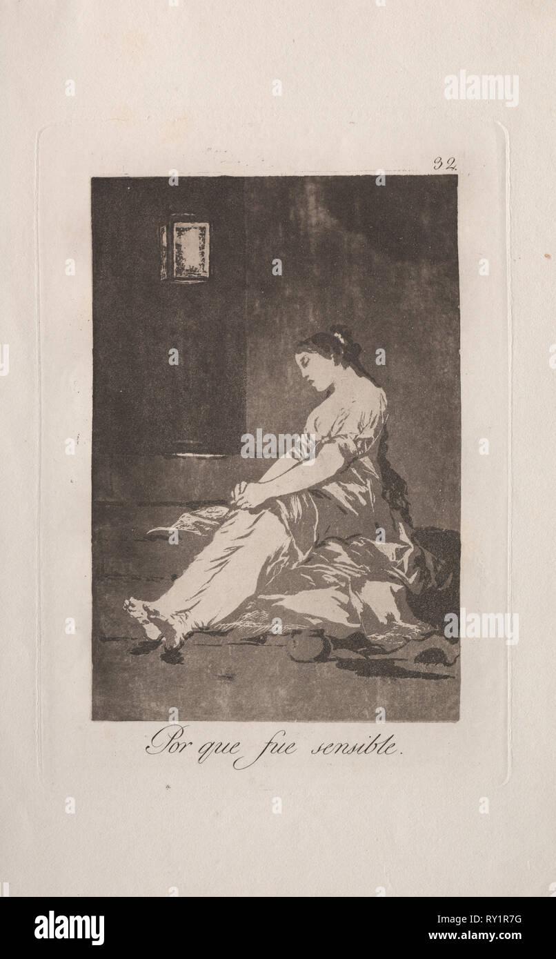 Caprichos: Weil Sie war anfällig.. Francisco de Goya (Spanisch, 1746-1828). Radierung und Aquatinta Stockbild
