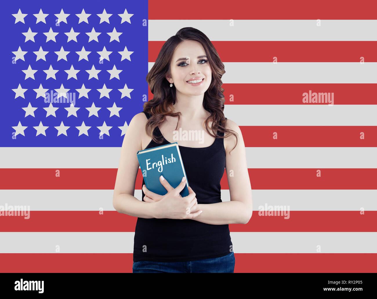 Usa Konzept Mit Recht Glucklich Studentin Portrait Gegen Die
