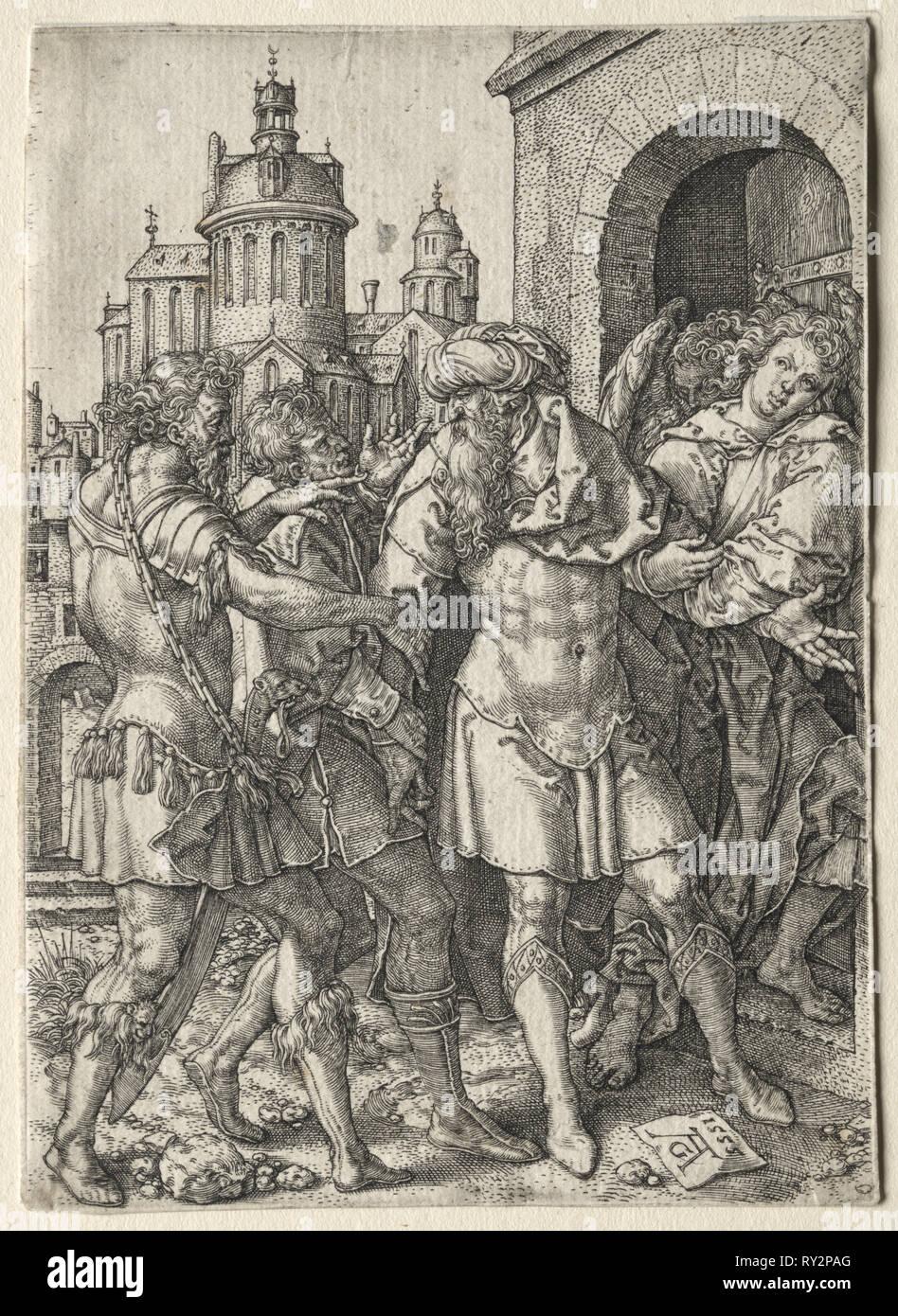 Die Geschichte von Los: Viele verhindert die Hurer aus Gewalt, 1555. Heinrich Aldegrever (Deutsch, 1502-1555/61). Gravur Stockbild