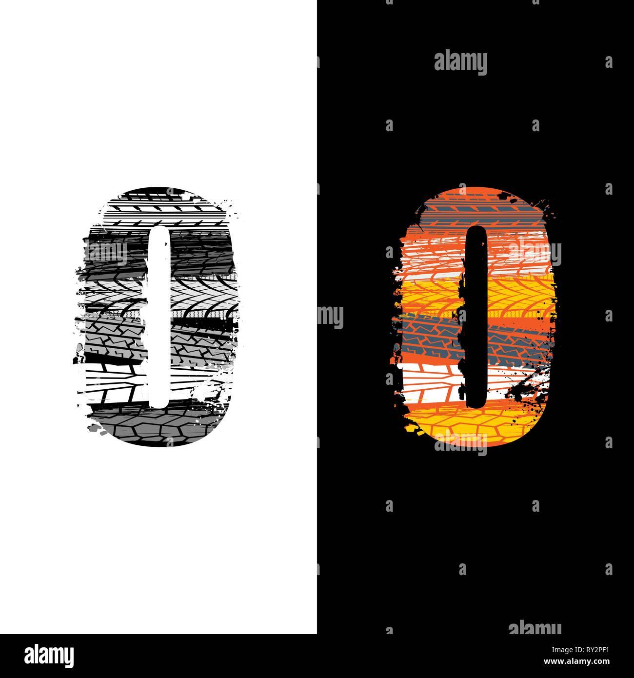 Zwei grunge Nummer 0 mit Reifenspuren auf differennt Hintergründe isoliert Stockbild