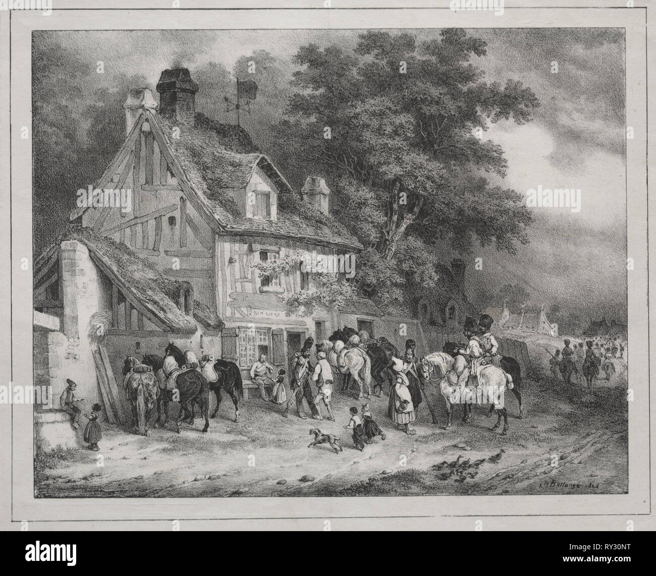 Album von 1829: Souvenir der Normandie, 1828. Joseph-Louis-Hippolyte Bellangé (Französisch, 1800-1866), Gihaut frères Éditeur, Boulevard des Italiens, Nr. 5. Lithographie; Blatt: 22,7 x 29,1 cm (8 15/16 x 11 7/16 in.); Bild: 16,4 x 20,9 cm (6 5/6 x 8 1/4 Zoll Stockbild