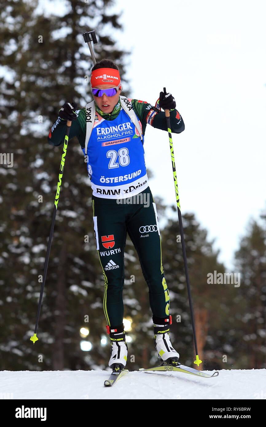 Östersund, Schweden. 12 Mär, 2019. IBU Biathlon Weltmeisterschaften, Tag 5, einzelne Frauen; Laura Dahlmeier (GER) in Aktion: Aktion plus Sport/Alamy leben Nachrichten Stockbild