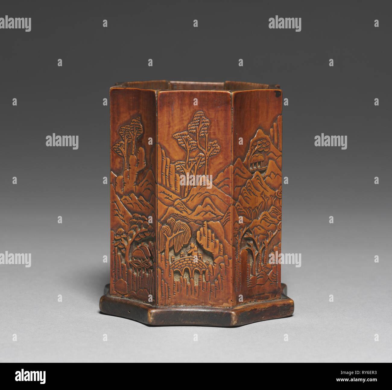 Bürstenhalter mit Bambus und Landschaftsgestaltung, 1800. Korea, der Joseon Dynastie (1392-1910). Geschnitzte Bambus; Insgesamt: 10,1 x 9 cm (4 x 3 9/16 Zoll Stockbild