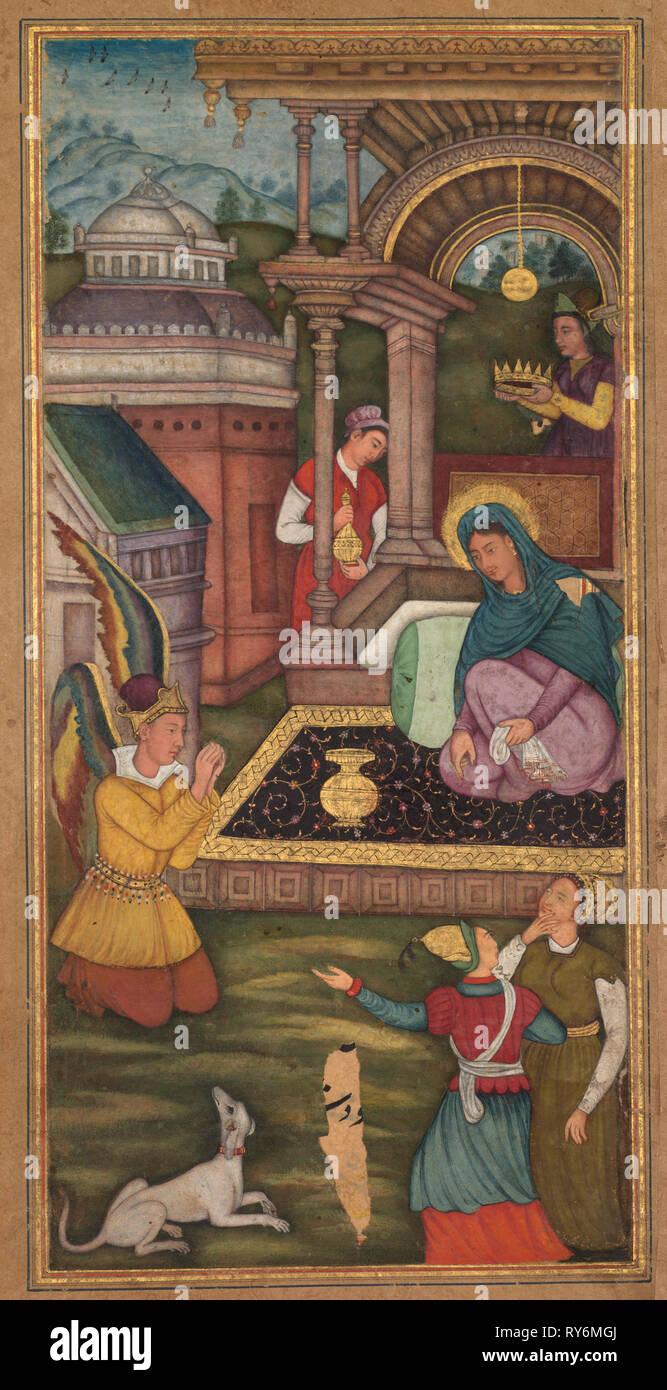 Die Verkündigung, von einem Mir'at al-Quds von Vater jerome Xavier (Spanisch, 1549-1617), 1602-1604. Im Norden Indiens, Uttar Pradesh, Allahabad, Anfang des 17. Jahrhunderts. Opak Aquarell und Gold auf Papier; Seite: 26,2 x 15,4 cm (10 5/16 x 6 1/16 Zoll Stockfoto
