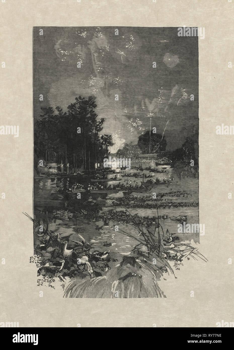 Le Monde Illustré, 14. Juni 1884: Das Festival für die Opfer der Pflicht, 1884. Louis Auguste Lepère (Französisch, 1849-1918). Holzstich; Blatt: 31,2 x 46,3 cm (12 5/16 x 18 1/4 in.); Bild: 21,2 x 14,6 cm (8 3/8 x 5 3/4 in Stockbild