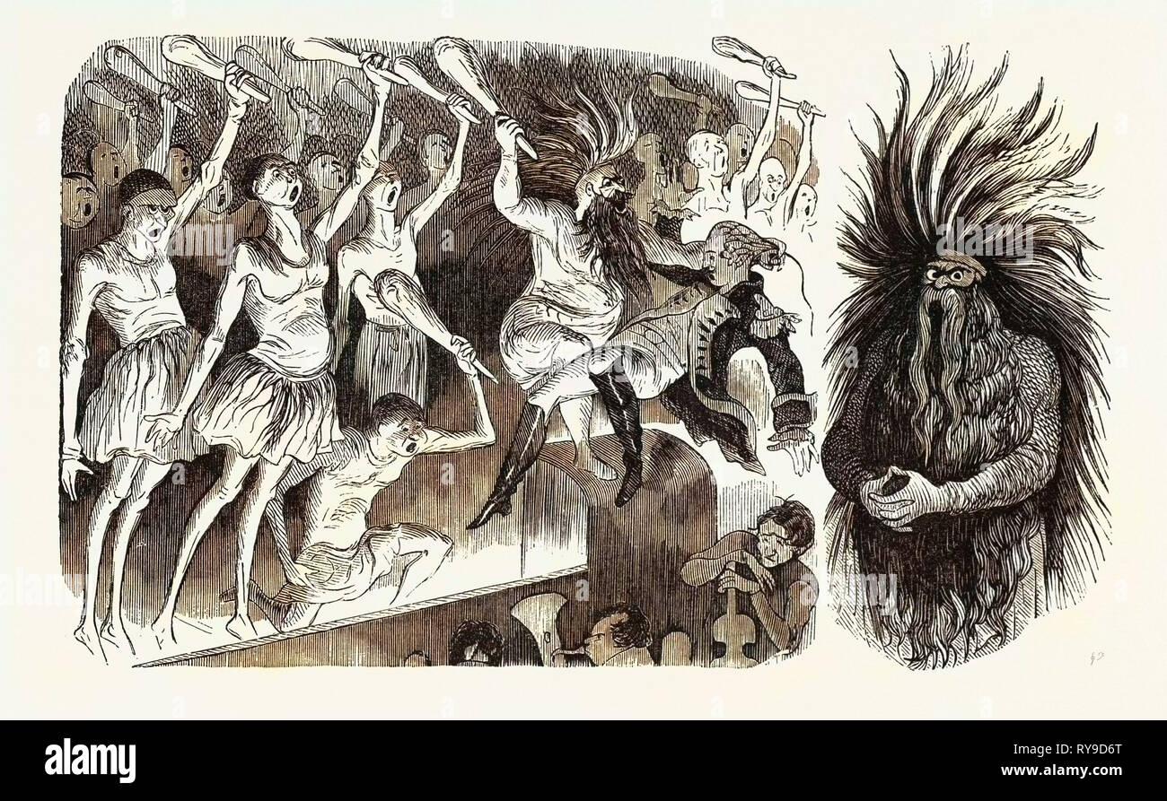 Théâtre-Lyrique. Jaguarita oder die Indische armen Teint. Anacocasses großen Chor. (Links) Papa-Mamma - Jumbo (rechts). Gravur 1855 Stockbild