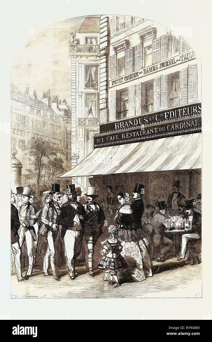 Szenen in Paris, den Boulevard des Italiens Stockbild