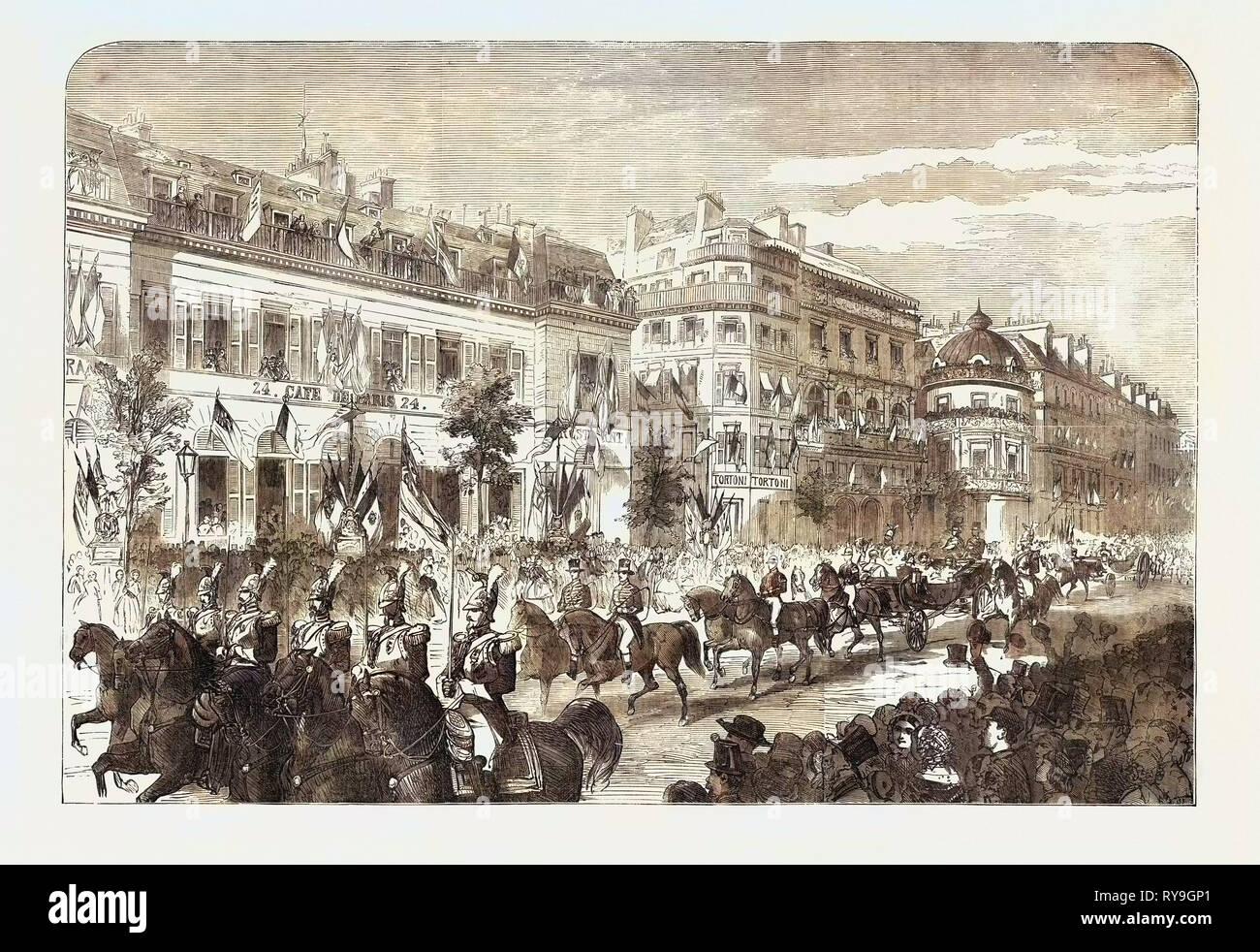 Die königliche und Kaiserliche Prozession vorbei am Boulevard des Italiens, Paris Stockbild