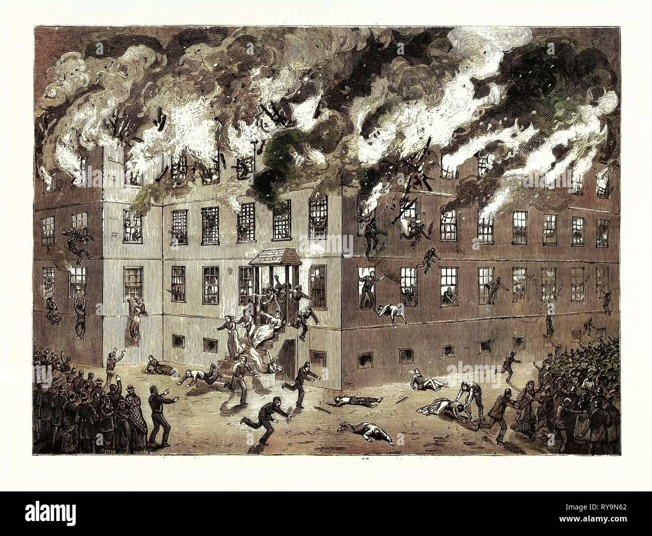 Minnesota: Tödliche Brennen der Irrenanstalt in St. Peter, Us, Gravur 1880 1881 Stockbild