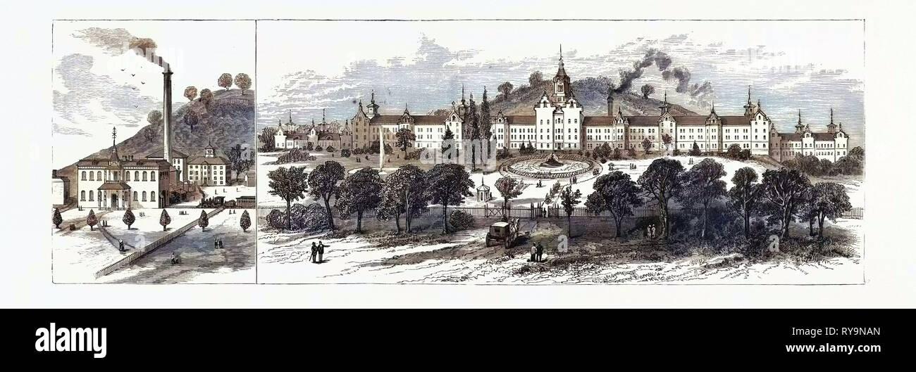 West Virginia: Neue Staatliche Krankenhaus für die Wahnsinnige bei Weston. Usa, Gravur 1880 1881 Stockbild