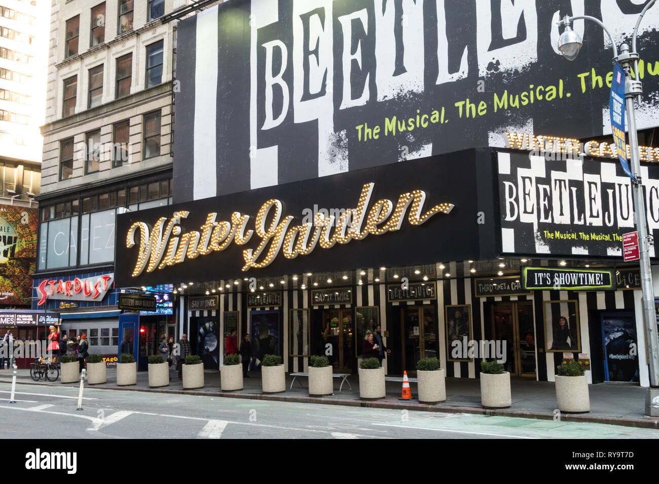 Beetlejuice Festzelt An Der Winter Garden Theatre Am Broadway