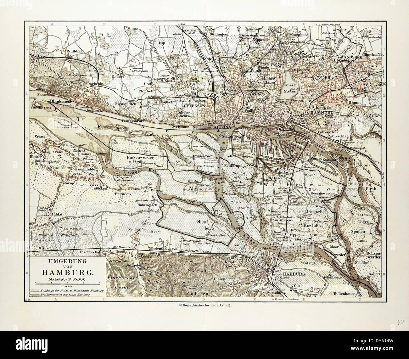 Hamburg Umgebung Elbmündung um 1897 historische alte Landkarte Stadtplan map
