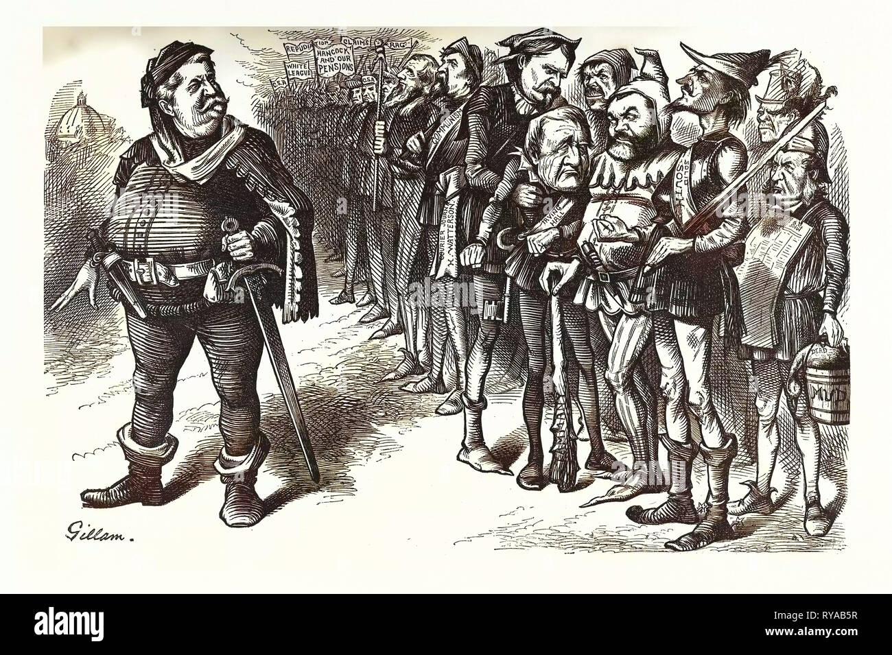 Falstaff Hancock Seine zackigen Regiment. Falstaff. Wenn ich meine Soldaten nicht schämen, ich bin Soused Gurnet. Kein Auge hat gesehen wie Vogelscheuchen! Gravur 1880, US, USA Stockbild