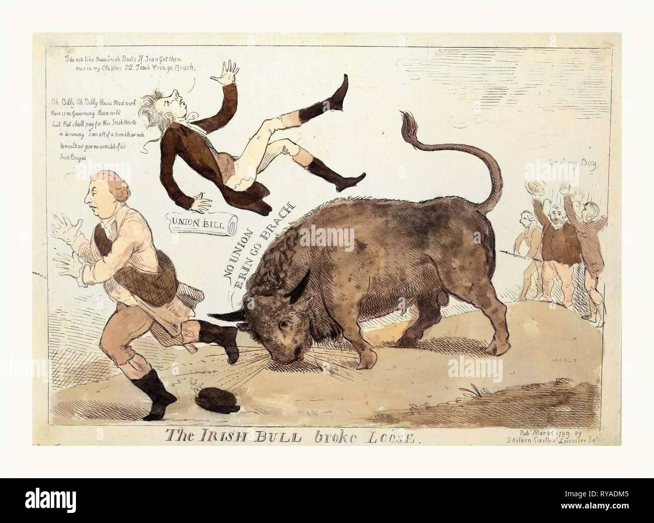 Die irische Bulle brach, Cruikshank, Isaac, 1756?-1811?, Gravur 1799, die Irische Bull werfen William Pitt in die Luft und über das Gleiche zu tun, Herr Dundas, läuft nach Links, ganz rechts, die Pitt's Union Bill jubeln auf dem Stier entgegen, Gehen, mein Junge Stockfoto