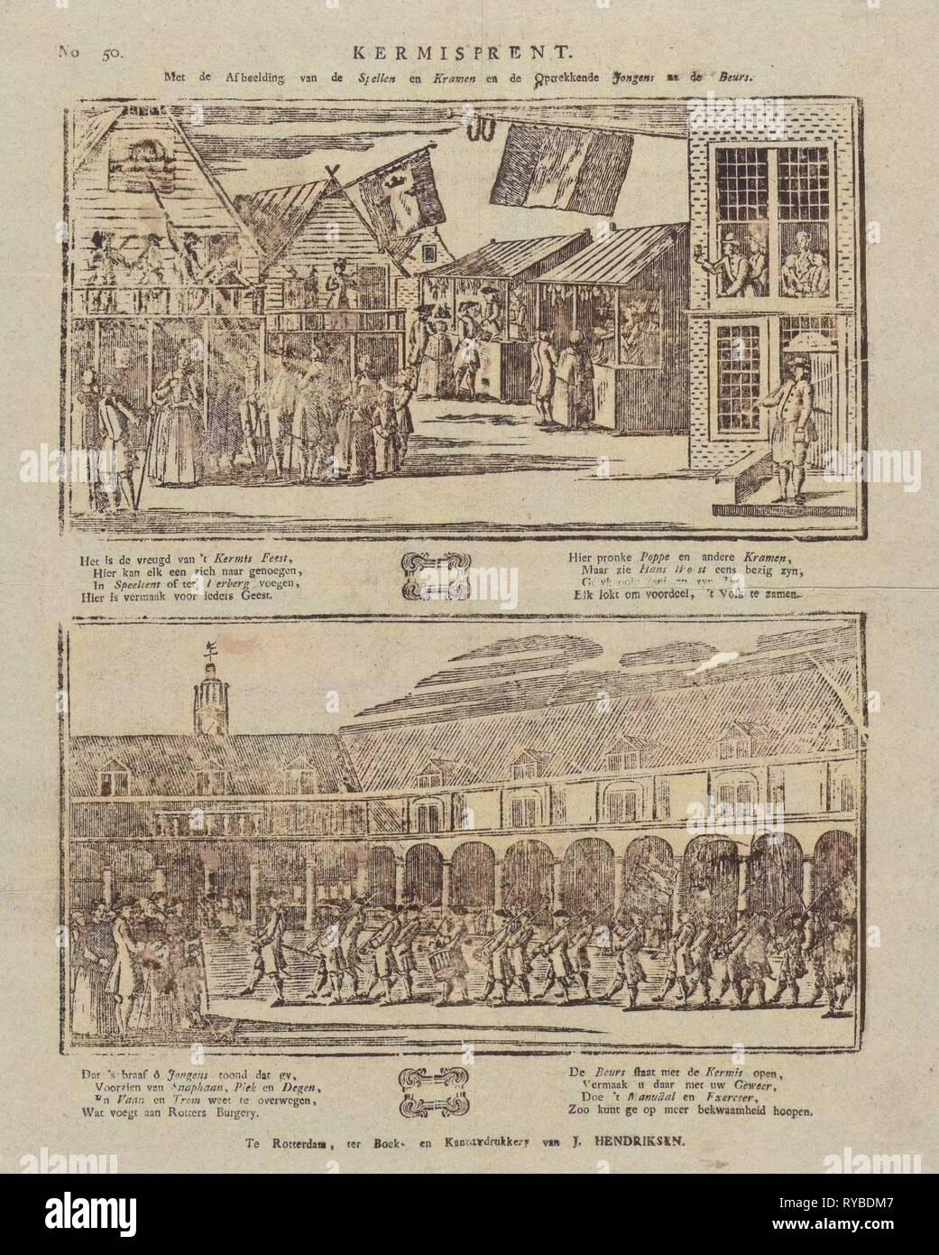 Fair zu drucken, mit dem Bild der Spiele und Stände und Jungs nach der Show, Jan Hendriksen, print-Hersteller: Anonym, 1781-1828 Stockbild