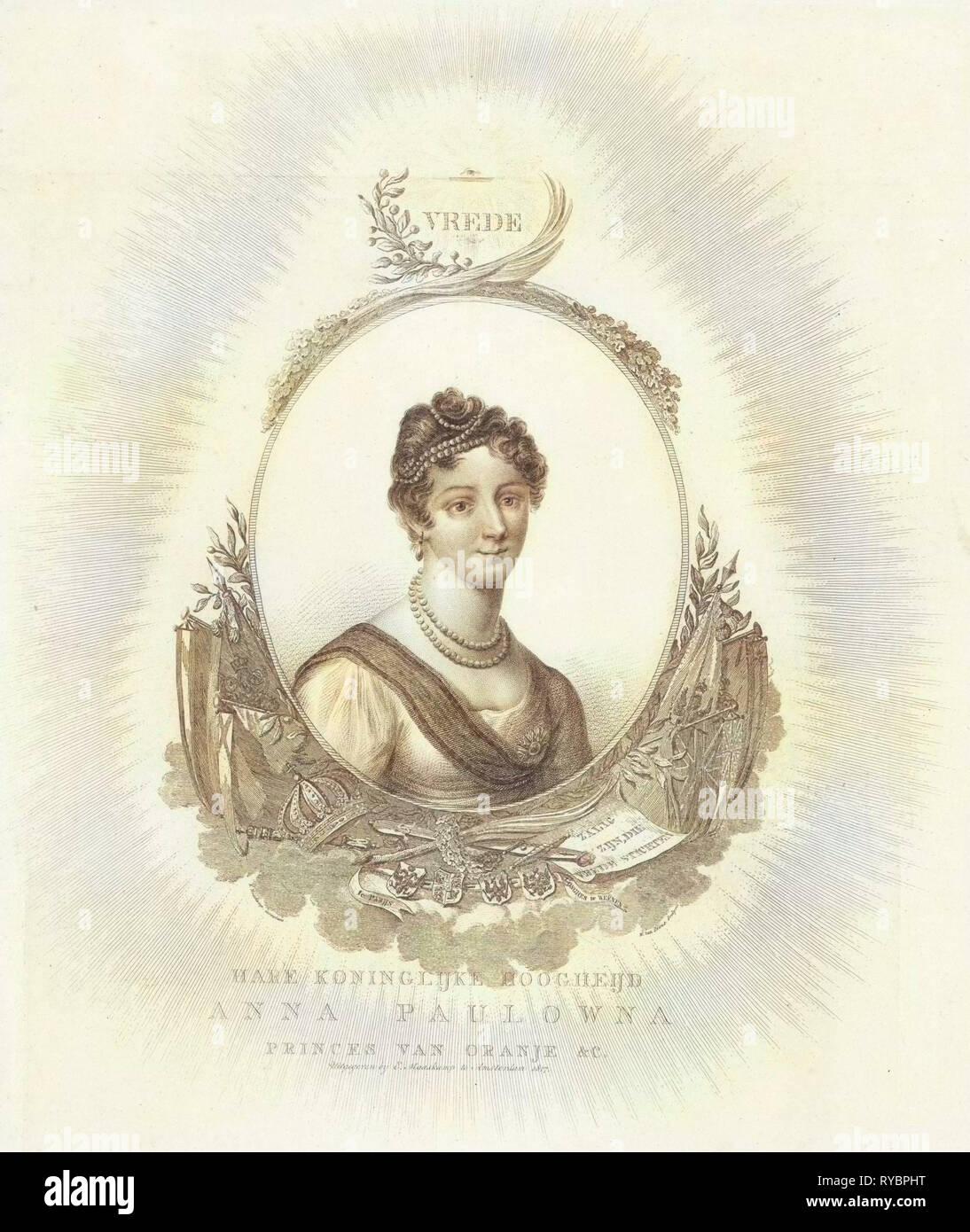 Porträt von Anna Pavlovna Romanowa, Willem van Senus, Evert Maaskamp, 1817 Stockbild