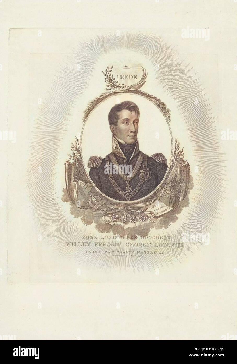 Porträt von William II, König der Niederlande, Willem van Senus, Evert Maaskamp, 1815 Stockbild