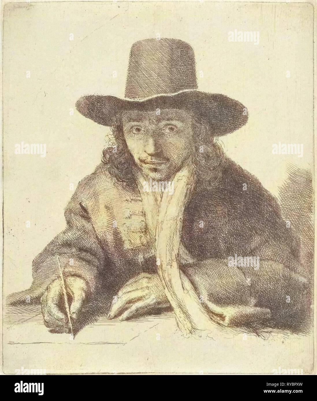 Selbstporträt von John Lutma charakteristisch, Johannes Lutma (II), 1643-1689 Stockbild