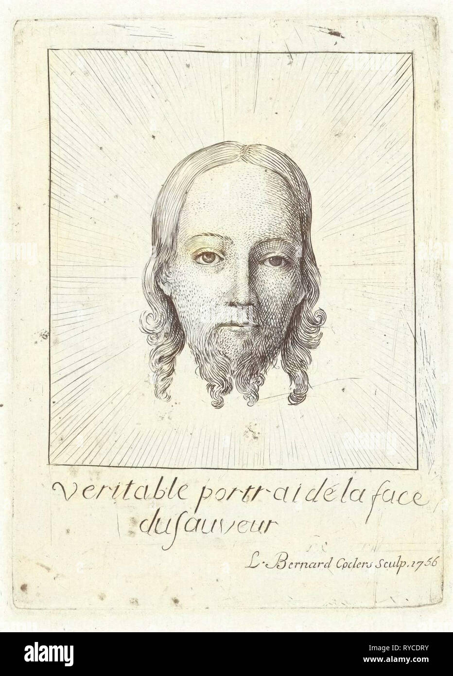 Kopf des Christus in Herrlichkeit, drucken Hersteller: Louis Bernard Coclers, Jan Van Eyck möglicherweise, 1756 Stockbild