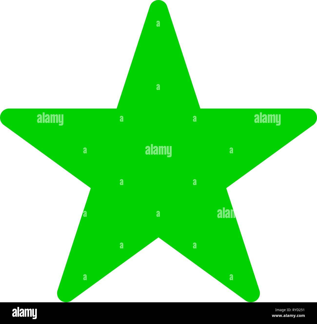 Stern Symbol - Grün einfach, 5 Spitzen abgerundet, isoliert - Vector Illustration Stock Vektor